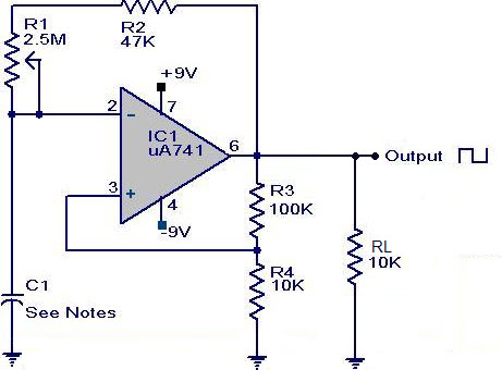 Square waveform generator circuit using op-amp