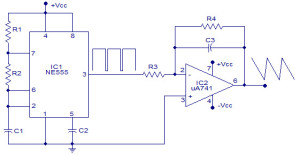 Square waveform generator circuit using 555 timer