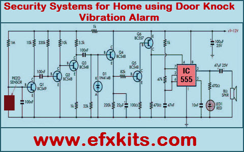 security systems for home using door knock vibration alarm