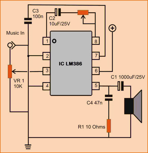 Audio Power Amplifier Circuit with Adjustable Gain