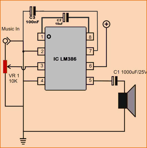 Simple Low Audio Power Amplifier Circuit with Working