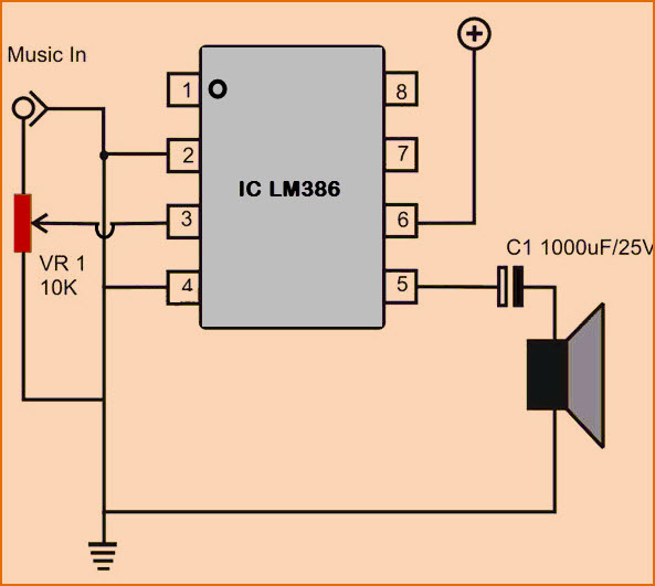 simple low audio power amplifier circuit with workingaudio power amplifier circuit