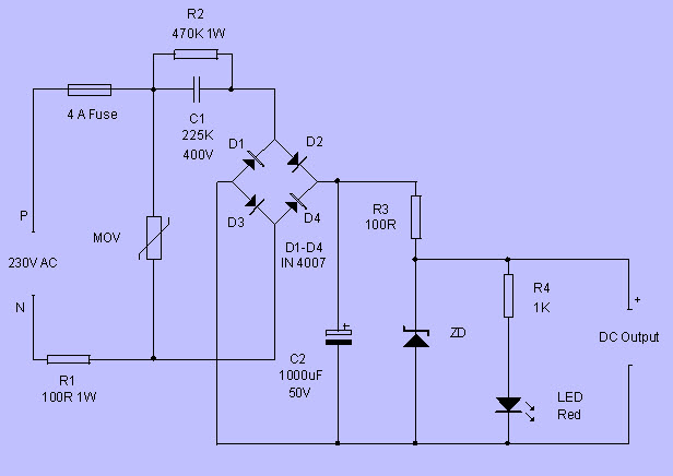Working of Transformerless Power Supply Circuit