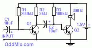 Two Transistor Audio Amplifier Circuit